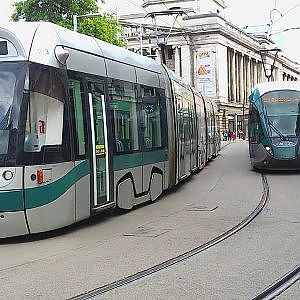 Nottingham Trams at Old Market Square - YouTube